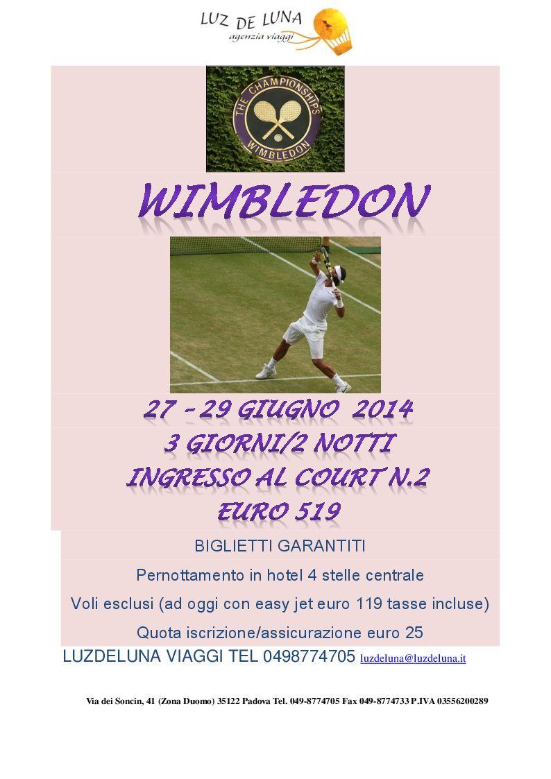 viaggio per wimbledon